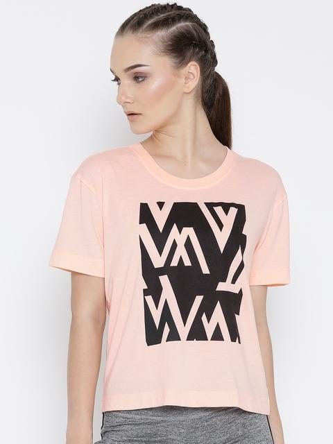 Reebok Women Peach-Coloured WOR CS Easy Printed Training T-shirt