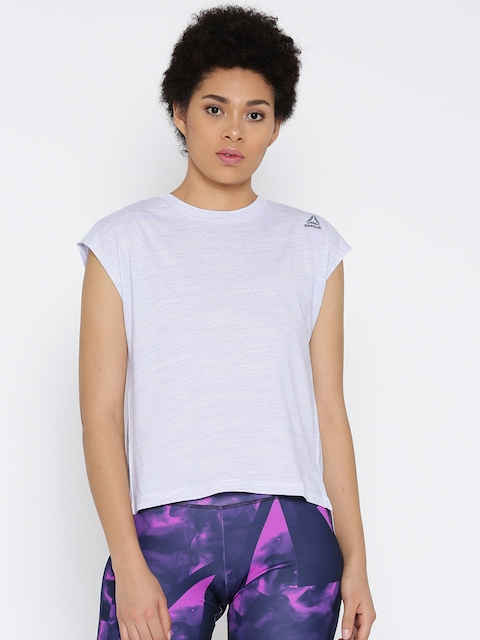 Reebok Women Purple & Off-White EL Marble Styled Back Training Top