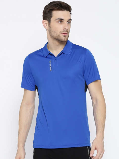 Reebok Men Blue WOR Solid Polo Collar Training T-shirt  available at myntra for Rs.659