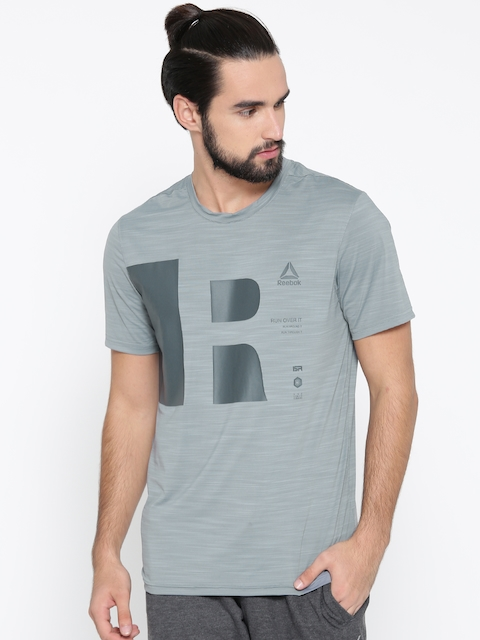Reebok Men Grey OSR SS AC Printed Round Neck Running T-shirt