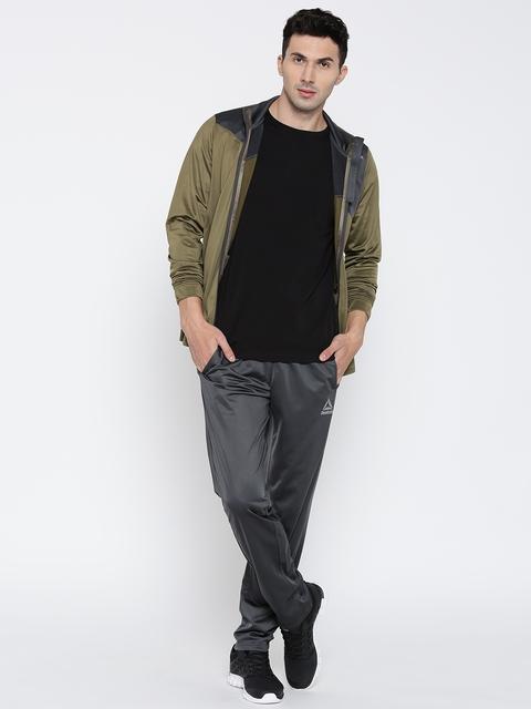 Reebok Charcoal Grey & Olive Green TS TRICOT Slim Fit Tracksuit