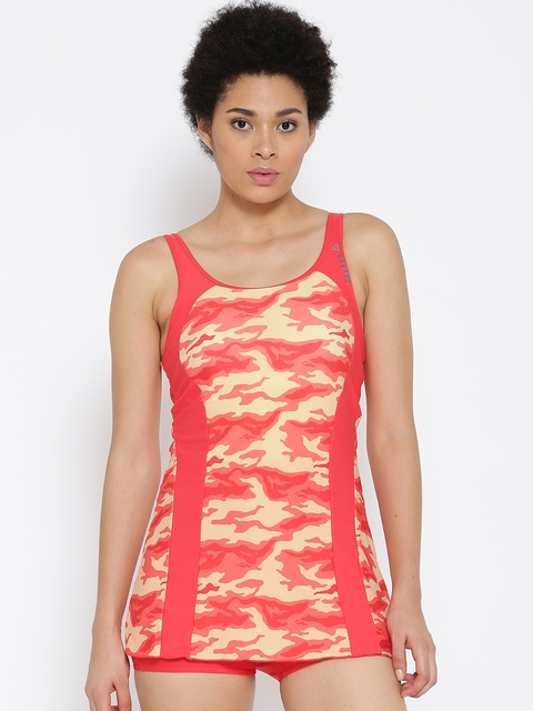 Reebok Orange & Cream-Coloured WS SKT Camouflage Print Swimwear CF9957