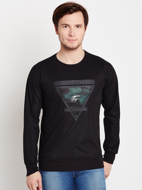 Fort Collins Men Black Printed Sweatshirt