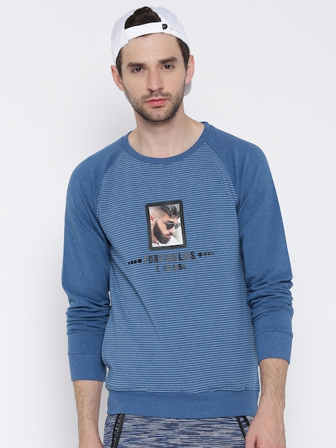 Fort Collins Men Blue Striped Sweatshirt