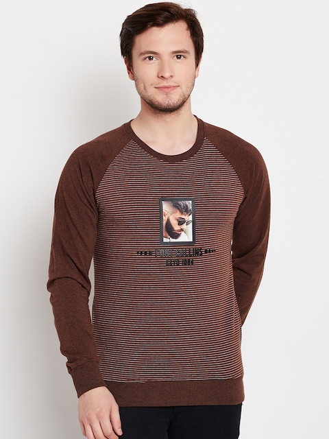 Fort Collins Men Brown & White Striped Sweatshirt
