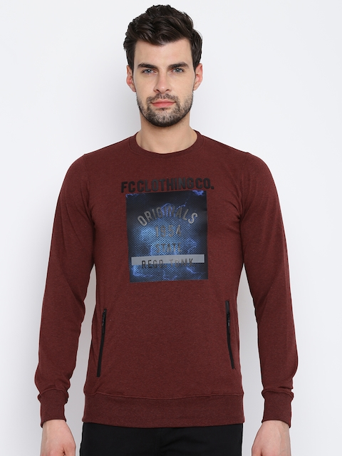 Fort Collins Men Maroon Printed Sweatshirt