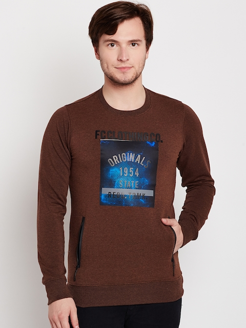 Fort Collins Men Brown Printed Sweatshirt