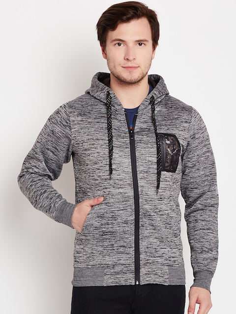 Fort Collins Men Grey Melange Solid Hooded Sweatshirt