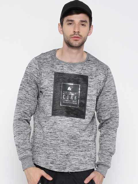 Fort Collins Men Grey Melange Printed Sweatshirt