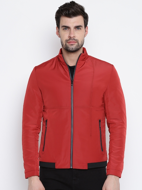 Fort Collins Men Red Solid Tailored Jacket