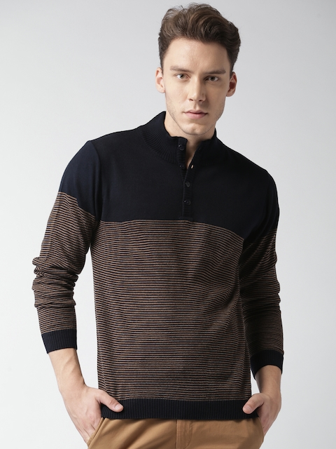 Mast & Harbour Men Black & Brown Striped Pullover