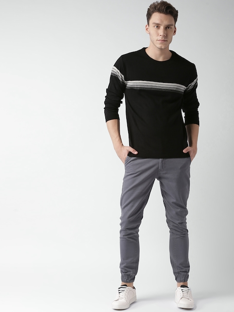 Mast & Harbour Men Black Striped Pullover Sweater