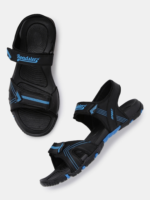 Roadster Men Black & Blue Sports Sandals