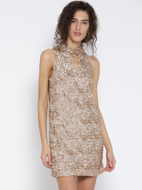 MANGO Women Beige Sequinned A-Line Dress