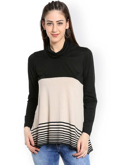109F Women Beige & Black Striped Top