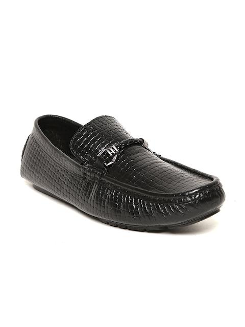 San Frissco Men Black Leather Driving Shoes