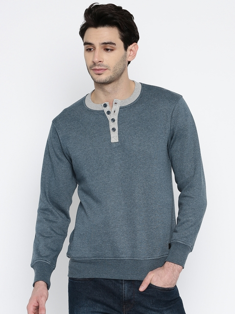 Roadster Men Blue Solid Sweatshirt