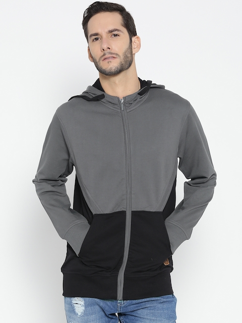 Roadster Men Grey & Black Colourblocked Hooded Sweatshirt