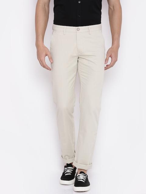 Allen Solly Men Off-White Custom Regular Fit Self Design Chinos
