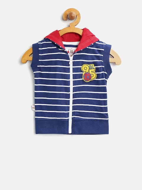 Baby League Boys Blue Striped Open Front Sleeveless Hooded Jacket