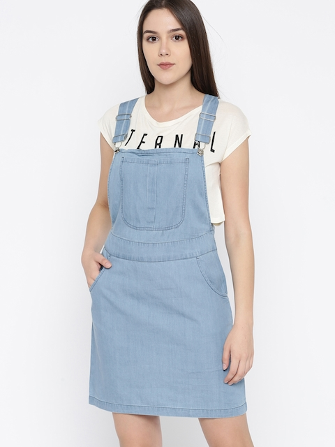DressBerry Women Blue Solid Pinafore Dress