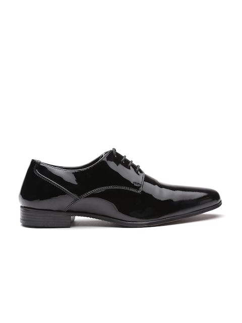 United Colors of Benetton Men Black Genuine Leather Glossy Formal Shoes