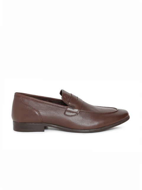 United Colors of Benetton Men Brown Leather Formal Slip-Ons