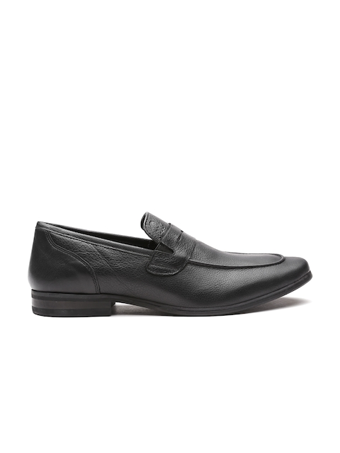 United Colors of Benetton Men Black Genuine Leather Semiformal Slip-Ons