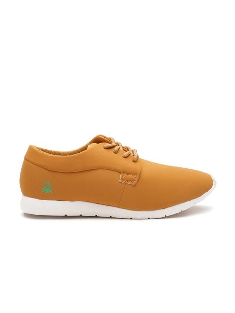 United Colors of Benetton Men Mustard Yellow Nubuck Leather Sneakers