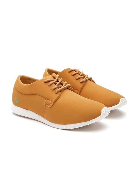 United Colors of Benetton Men Mustard Yellow Nubuck Leather Sneakers
