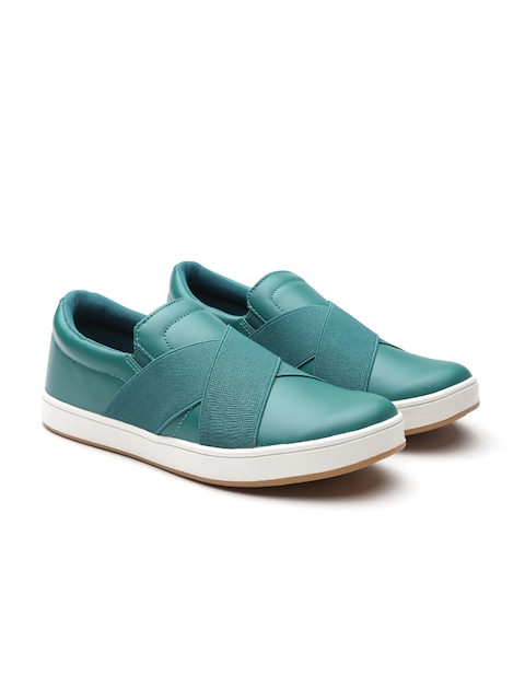 United Colors of Benetton Men Green Slip-On Sneakers