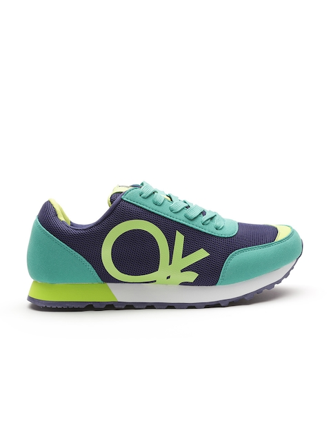 United Colors of Benetton Men Navy & Green Printed Sneakers