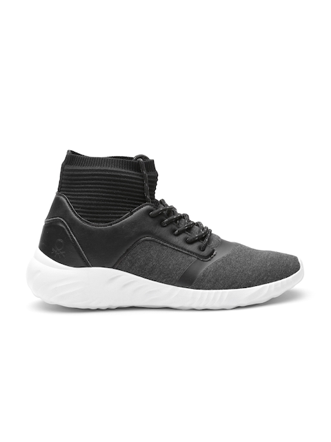 United Colors of Benetton Men Charcoal Grey Mid-Top Sneakers