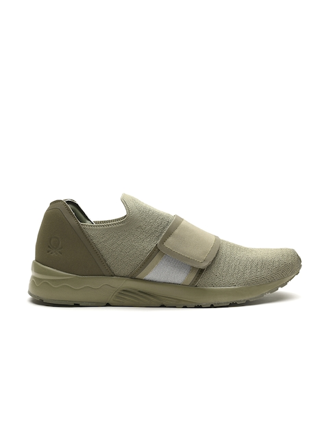 United Colors of Benetton Men Olive Green Slip-Ons