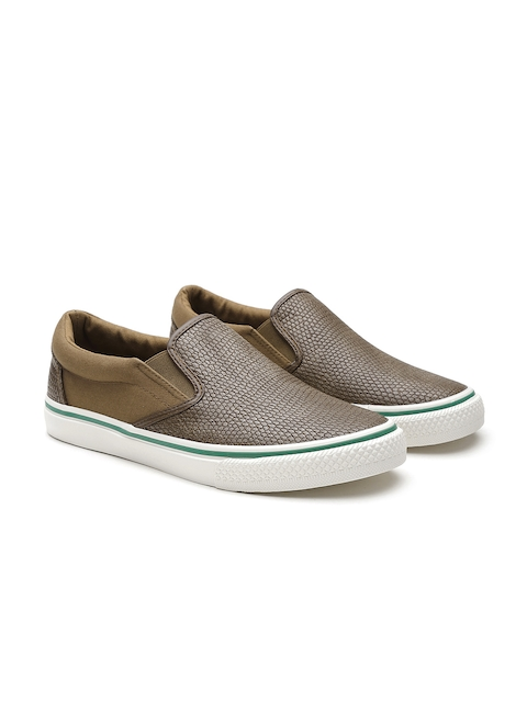 United Colors of Benetton Men Brown Snakeskin Textured Slip-Ons