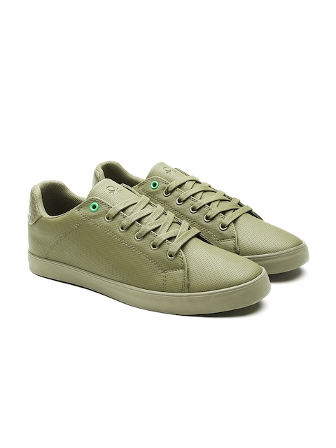 United Colors of Benetton Men Olive Green Textured Sneakers