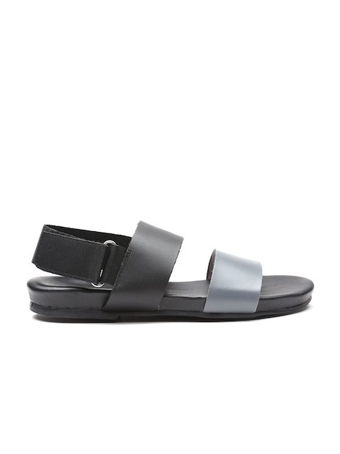 United Colors of Benetton Men Grey & Black Sandals