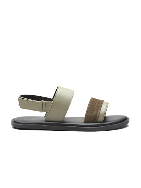 United Colors of Benetton - - United Colors of Benetton Men Olive Green Leather Sandals