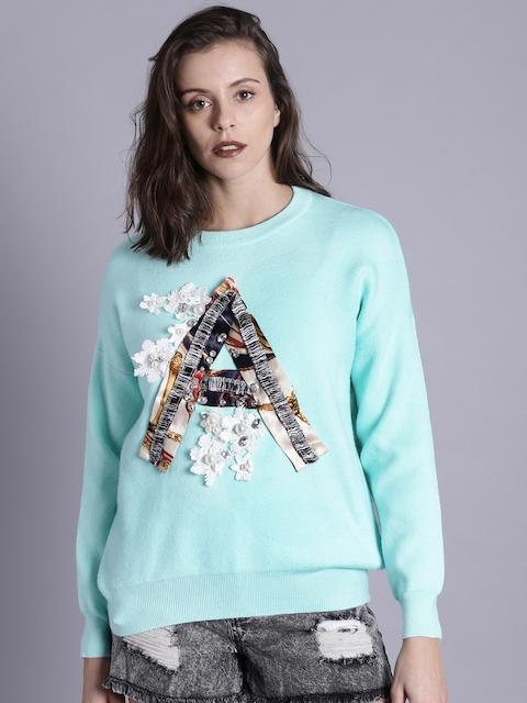 Kook N Keech Women Turquoise Blue Self Design Sweater