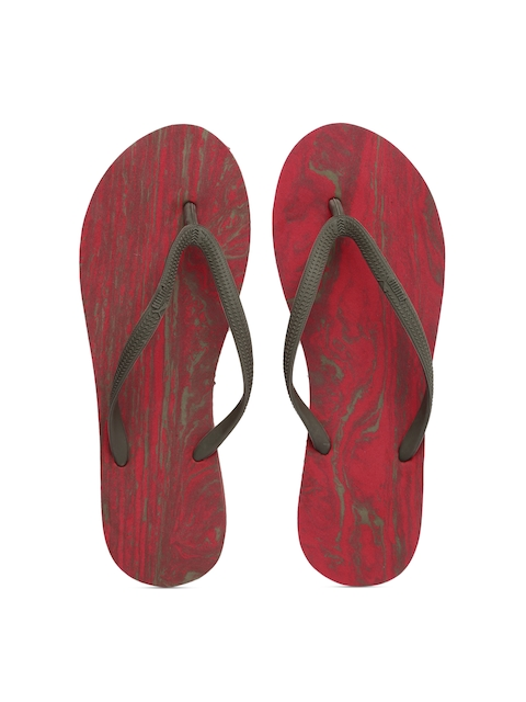 Puma Women Olive Green & Red First Flip Platform Marble Printed Flip-Flops