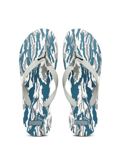 Puma Men Grey & Blue Luca Printed Flip-Flops