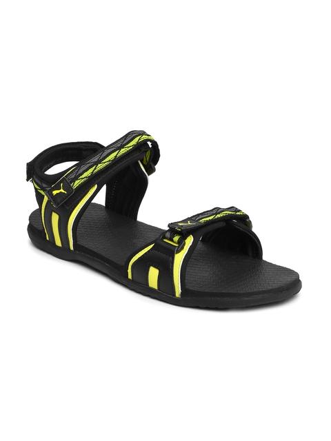 Puma Unisex Black & Yellow Nova Sports Sandals