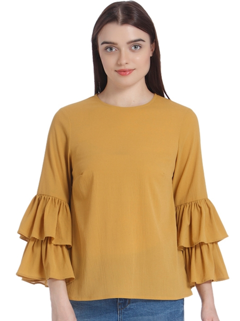 Vero Moda Women Mustard Yellow Solid Top with Bell Sleeves