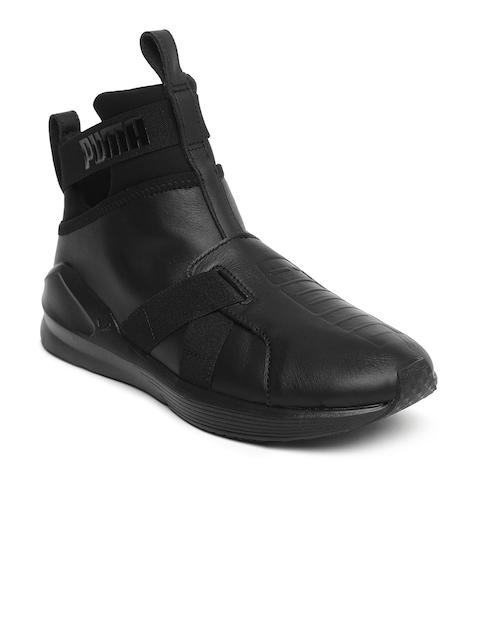 Puma Women Black Leather Mid-Top Cross-Training Shoes