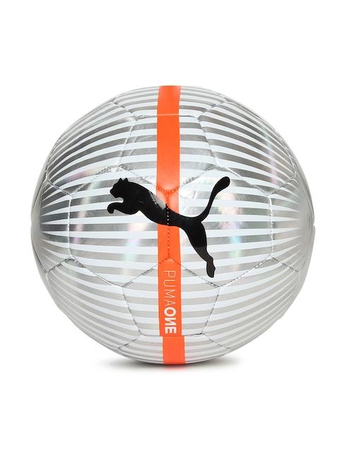 Puma Unisex White & Silver-Toned Printed One Chrome Football
