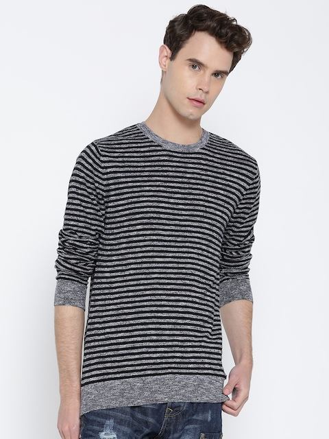 United Colors of Benetton Men Black & Grey Striped Pullover