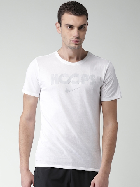 Nike Men White Printed Round Neck JUST HOOPS T-shirt