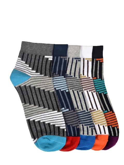 MARC Men Pack of 5 Striped Ankle-Length Socks