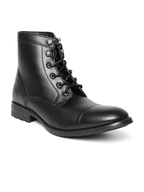 Bond Street By Red Tape Men Black Solid High-Top Boots