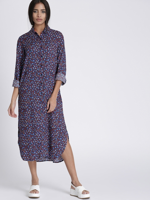 Chemistry Women Navy Blue Printed Shirt Dress